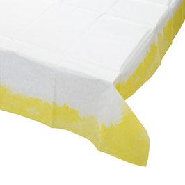 Nappe en papier blanche avec bord jaune