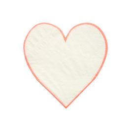 16 petites serviettes coeurs blancs bord corail meri meri