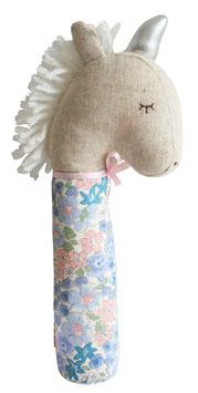 Hochet licorne Yvette corne argent tissu fleurs pastels Alimrose