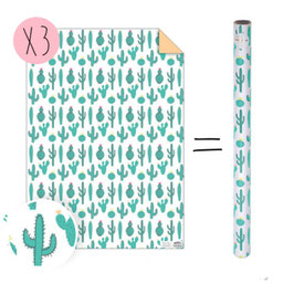 3 feuilles papier cadeau imprimé cactus meri meri 50cmsX70cms