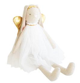 Grande poupée lapin Angel ivoire ailes dorées Alimrose 70cms