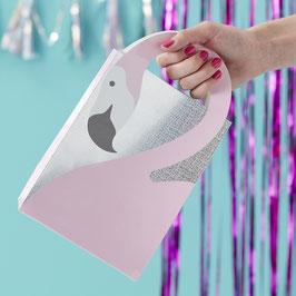 5 sacs à cadeaux invités flamant rose irisé