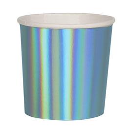8 petits gobelets bleus holographiques meri meri