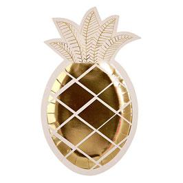 8 assiettes en carton ananas doré Meri Meri