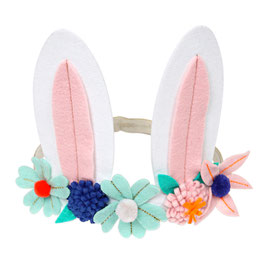 Bandeau oreilles de lapin avec fleurs meri meri