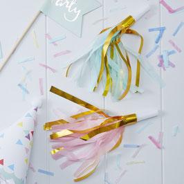 10 sifflets guirlandes pastels pour fête