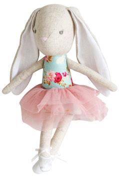 Petite poupée lapin Ballerine avec tissu bleu fleurs roses Alimrose
