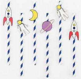 12 Pailles Rayées avec Cosmonaute My Little Day