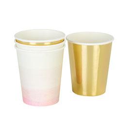 12 gobelets dégradés rose et blanc et unis dorés