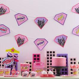 Guirlande décorative anniversaire super héros fille
