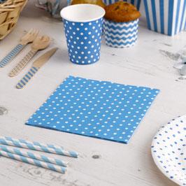 20 serviettes en papier fond turquoise pois blancs