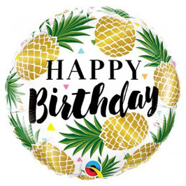 Ballon métallique rond ananas Happy Birthday