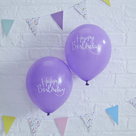 "10 ballons gonflables violets avec écriture blanche ""Happy Birthday"""
