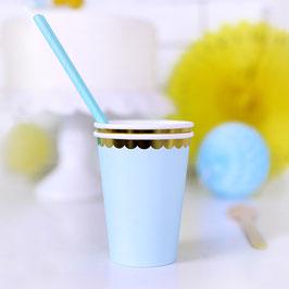 6 gobelets bleu pastel bordure dorée