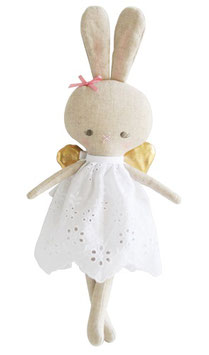 Petite poupée lapin robe broderie anglaise blanche ailes dorées Alimrose