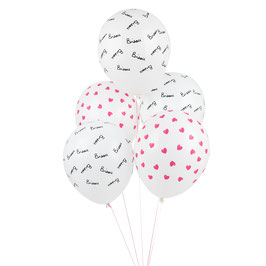 "5 ballons motifs coeur et  ""Bisou"" de Mathilde Cabanas"