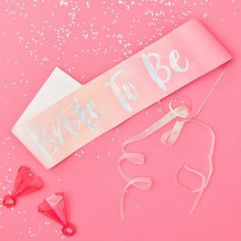 "Echarpe EVJF rose "" Bride to be "" argent irisé"