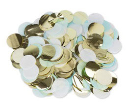 Confettis de Table Bleu Ciel, Blanc,Or 3cms
