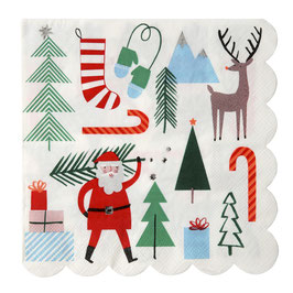 16 serviettes en papier thème Noël Meri Meri
