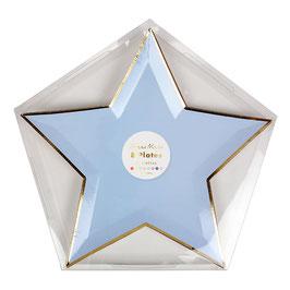 8 assiettes étoiles tons pastels bordure dorée Meri Meri