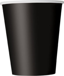 8 gobelets en carton coloris noir