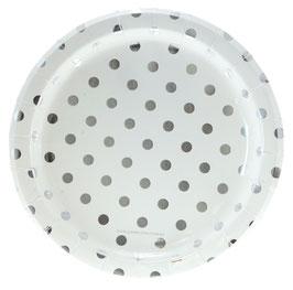 12 grandes assiettes fond blanc pois argents