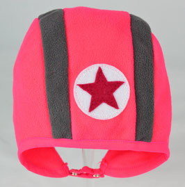 Bonnet bicolore rose fluo et gris kik kid