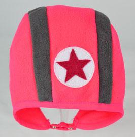 Bonnet bicolore rose fluo et gris kik kid