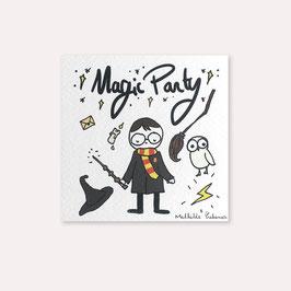 6 invitations anniversaire magicien Magic Party avec 6 enveloppes blanches , Mathilde Cabanas