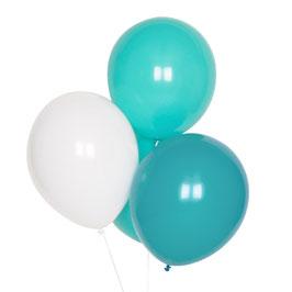 10 Ballons Latex Turquoises, Aqua, Blancs