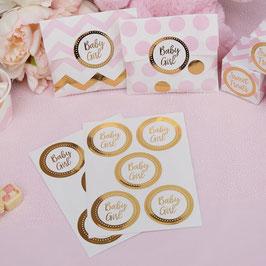 25 stickers dorés écriture Baby Girl