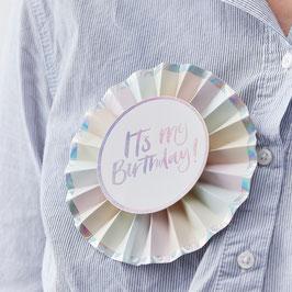 """Badge Anniversaire Pastel Irisé """"Happy Birthday"""""""