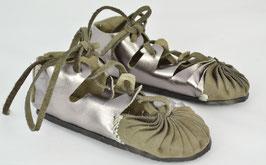 chaussures fille cuir lacées bicolore gris /argent
