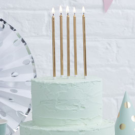 24 longues bougies dorées 15cms