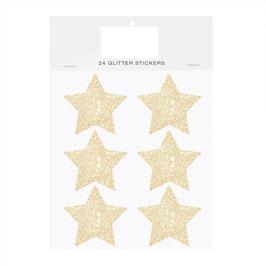 24 autocollants étoiles pailletées dorées