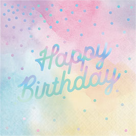 16 Grandes Serviettes Pastels Happy Birthday Irisé