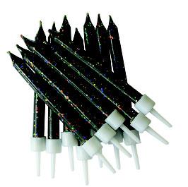 12 Bougies anniversaire noires paillettes multicolores