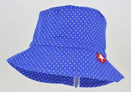 chapeau fond bleu électrique pois blanc marque Kik kid
