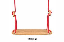 Balançoire Classic enfant plateau bois et corde rouge