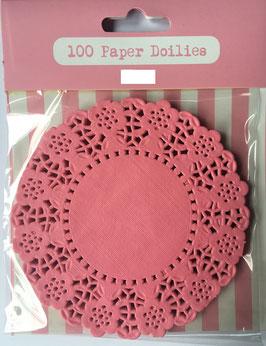 100 petits napperons en papier rose bonbon
