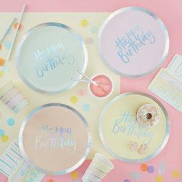 8 Assiettes pastels Happy Birthday et bordure irisée