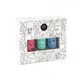 Coffret JUNGLE 3 vernis violet, rose pailleté, vert Nailmatic kids