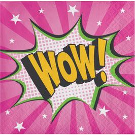 """16 petites serviettes super héros fille écriture """"Wow"""""""