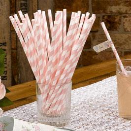 Pailles en papier rayures rose pastel et blanches