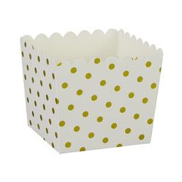6 Petits pots blancs avec petits pois dorés pour bonbons ou friandises