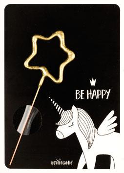 Petite Carte Licorne noire avec bougie magique étoile dorée