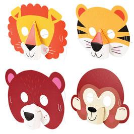 4 Masques Animaux 3 D en Carton