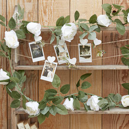 Guirlande roses blanches et feuillages