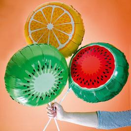 3 ballons métalliques fruits exotiques