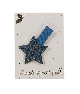 Petite Barrette pince marine étoile bleu nuit Luciole et petit pois